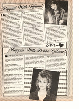 Debbie Gibson Tiffany teen magazine pinup clipping Rapping with Tiffany and Debb