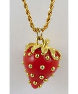 """KENNETH LANE Red Strawberry PENDANT Gold-Plated Rope Chain NECKLACE - 33 """" - $45.00"""