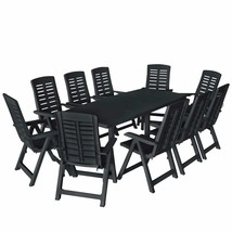 vidaXL 11 Piece Outdoor Dining Set Plastic Anthracite Garden Furniture Set - $627.99