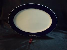 "LARGE HEINRICH GERMANY OVAL WHITE & BLUE PORCELAIN 16 1/4"" BY 11 1/2"" PL... - $37.62"