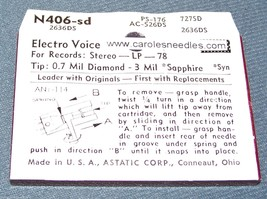 N406-sd 374-DS73 PHONOGRAPH RECORD PLAYER NEEDLE for EV 2636DS EV 5026 5027 image 2