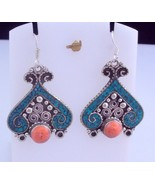 Vintage Turquoise-Coral Tibetan Silver Handmade Earring  Jewelry 15 Gr. ... - $6.92