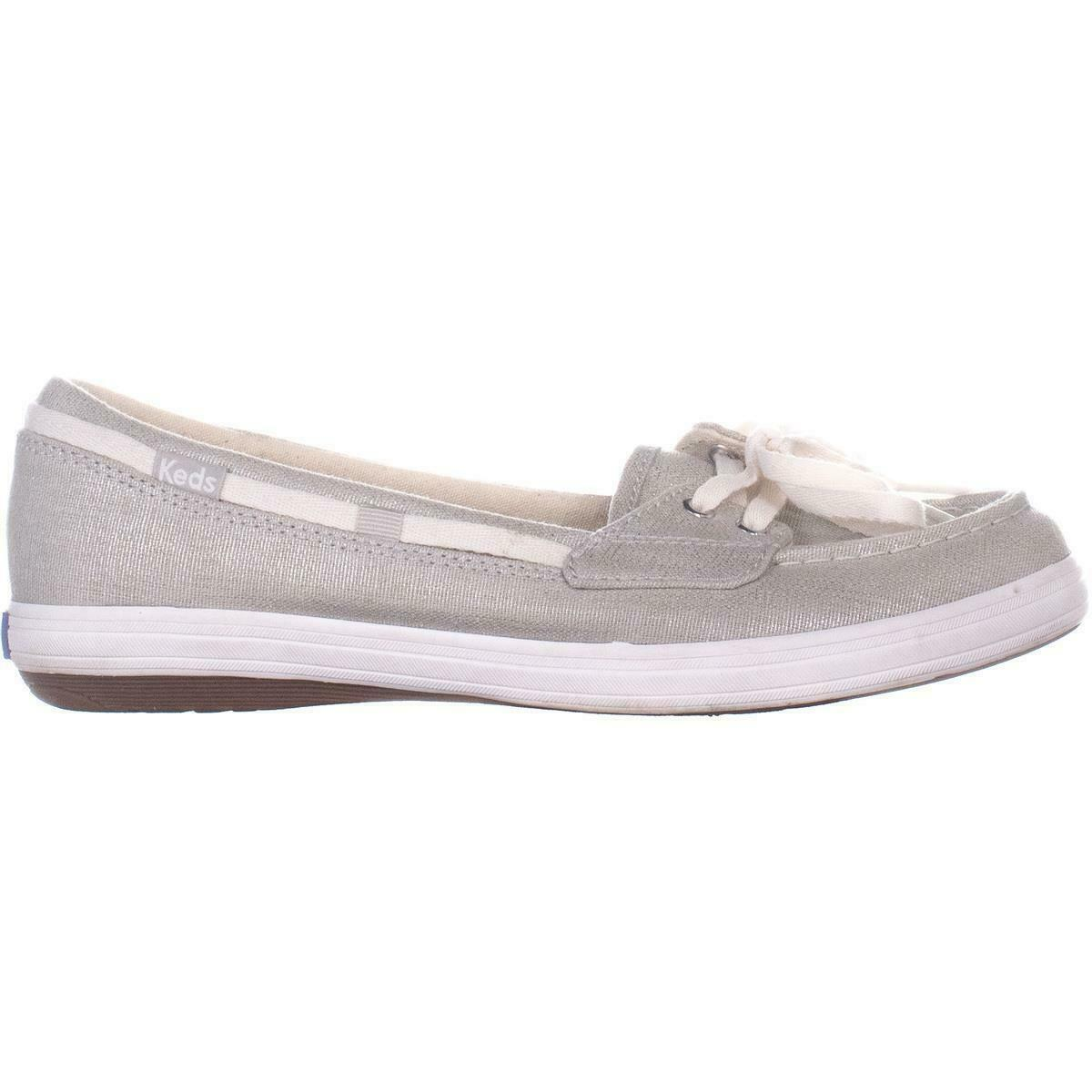 Keds Glimmer Lace Up Boat Shoes 553, Silver, 6.5 US / 37 EU image 5