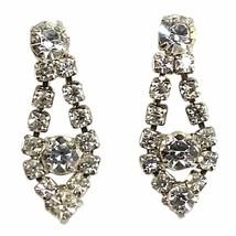 Formal Drop Earrings Vintage Rhinestone Silver Tone Clip On e907 - $8.49