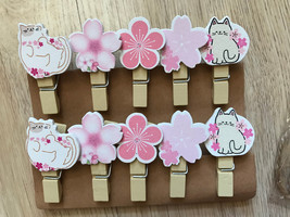 60pcs Cats&Flowers Clothespins,Birthday Party Gift Favors,Wedding Decora... - $11.50