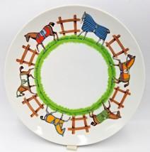 Paddock Taste Setter By Sigma Dinner Plate Horses Multicolor Saddles Fen... - $49.99