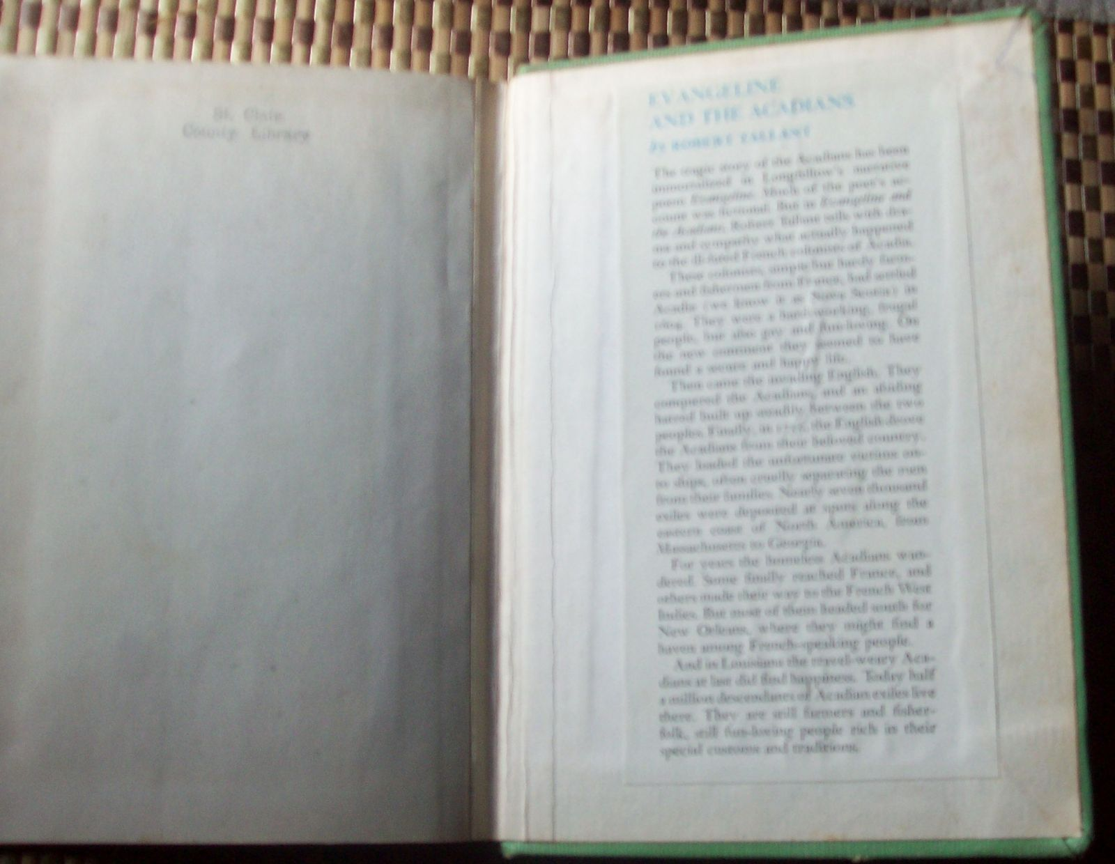 Evangeline and the Acadians by Robert Tallant 1957 HB