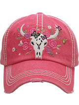 Distressed Country Western Cowgirl Longhorn Flowers Hat Baseball Cap image 13