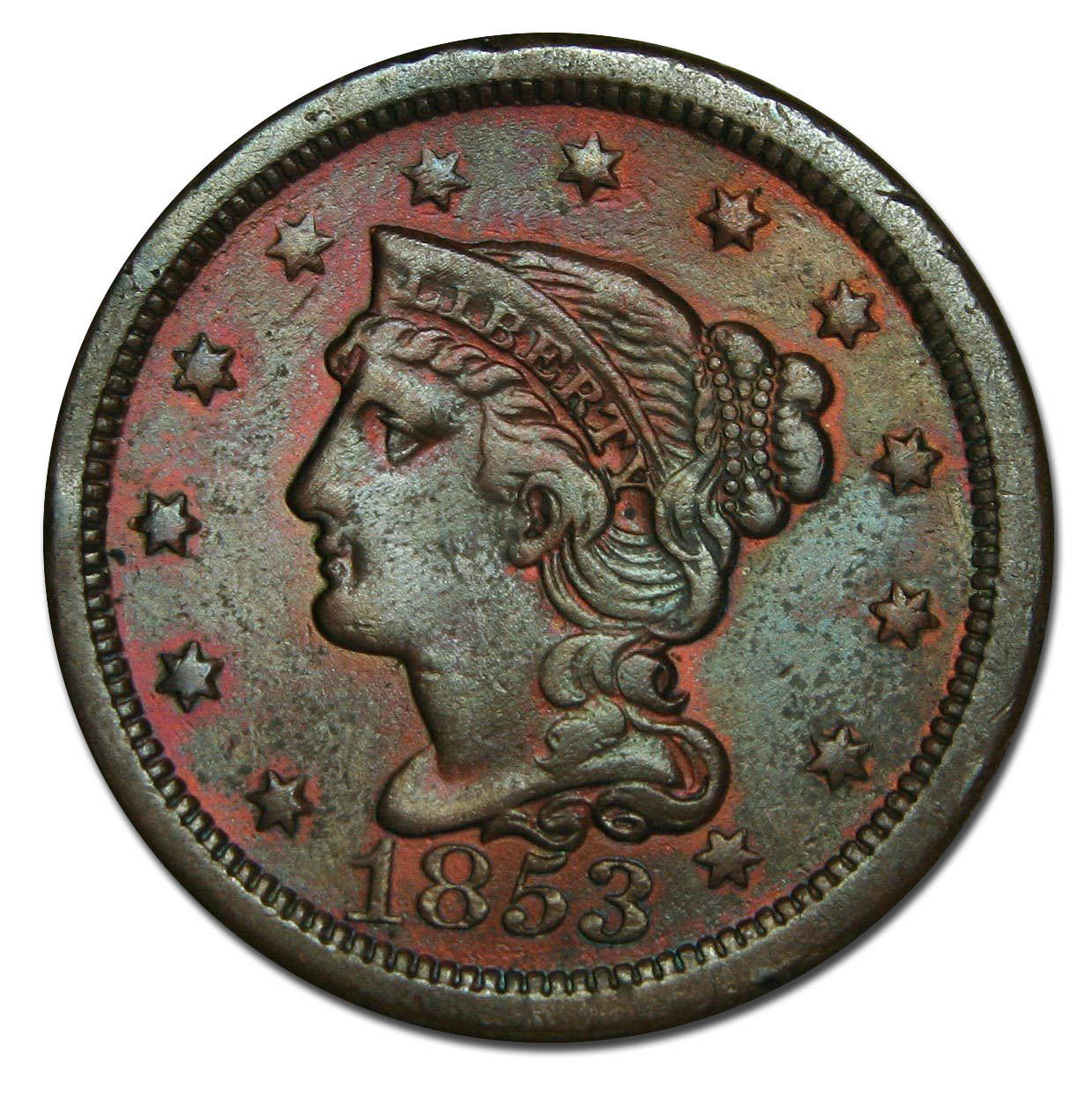 1853 Large Cent Liberty Braided Hair Head Coin Lot # MZ 2568