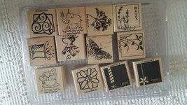 12 STAMPIN'UP WOODEN RUBBER MOUNTED INK STAMP SET JUMBO INCENTIVES II,1.... - $14.84