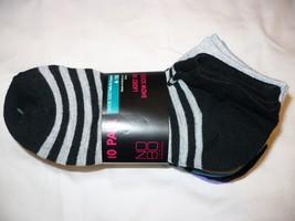 Women's No Boundaries No Show Socks 10 Pair Shoe Size 4-10 Black Gray  #393 - $11.87