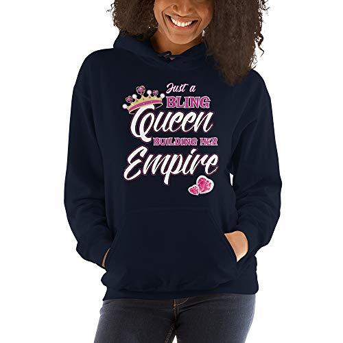 Girl Boss Unisex Hoodie Just a Bling Queen Building her Empire Navy