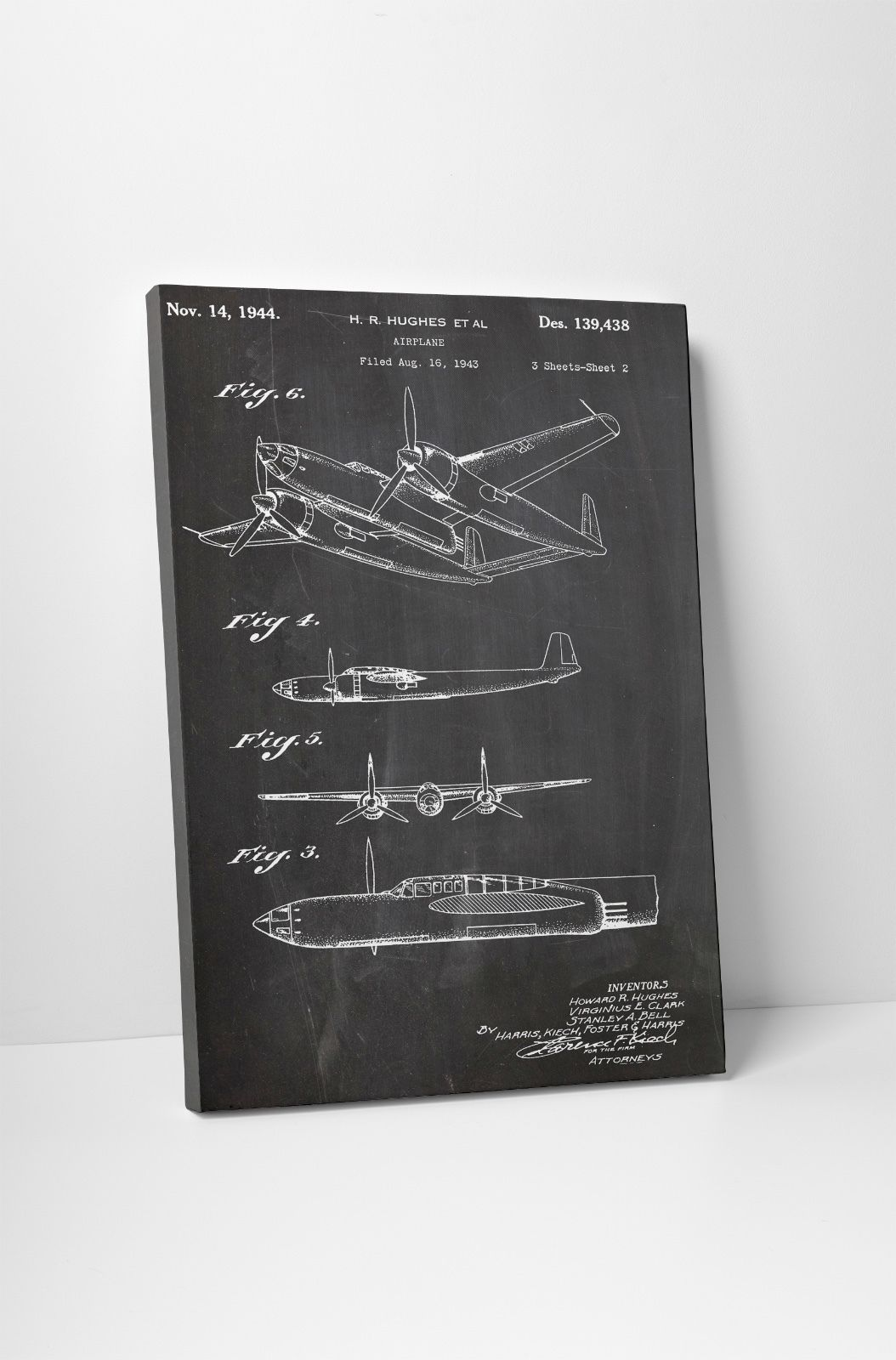 Hughes Airplane Patent Print Gallery Wrapped Canvas Print. BONUS WALL DECAL! - $44.50 - $142.51