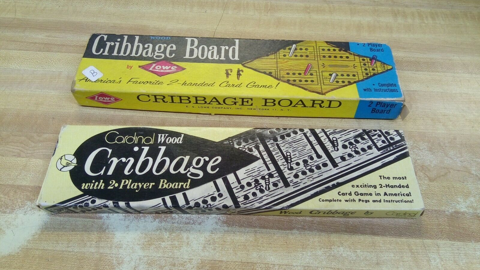 Primary image for  Lot of Two Cribbage Boards Vintage Wood Box Lowe Cardinal