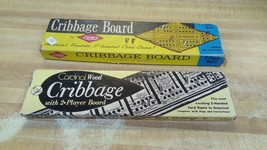 Lot of Two Cribbage Boards Vintage Wood Box Lowe Cardinal  - $19.87