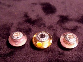TRIPLET SET OF VINTAGE PANDORA ALE STERLING GLASS BEAD BRACELET CHARMS - $29.70