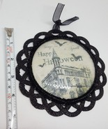 Stop By For A Spell Black Glittered Halloween Sign Holiday Decor pre-owned - $7.49