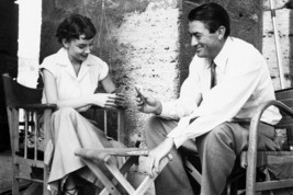 Roman Holiday Gregory Peck & Audrey Hepburn relax on set playing cards 18x24 Pos - $23.99