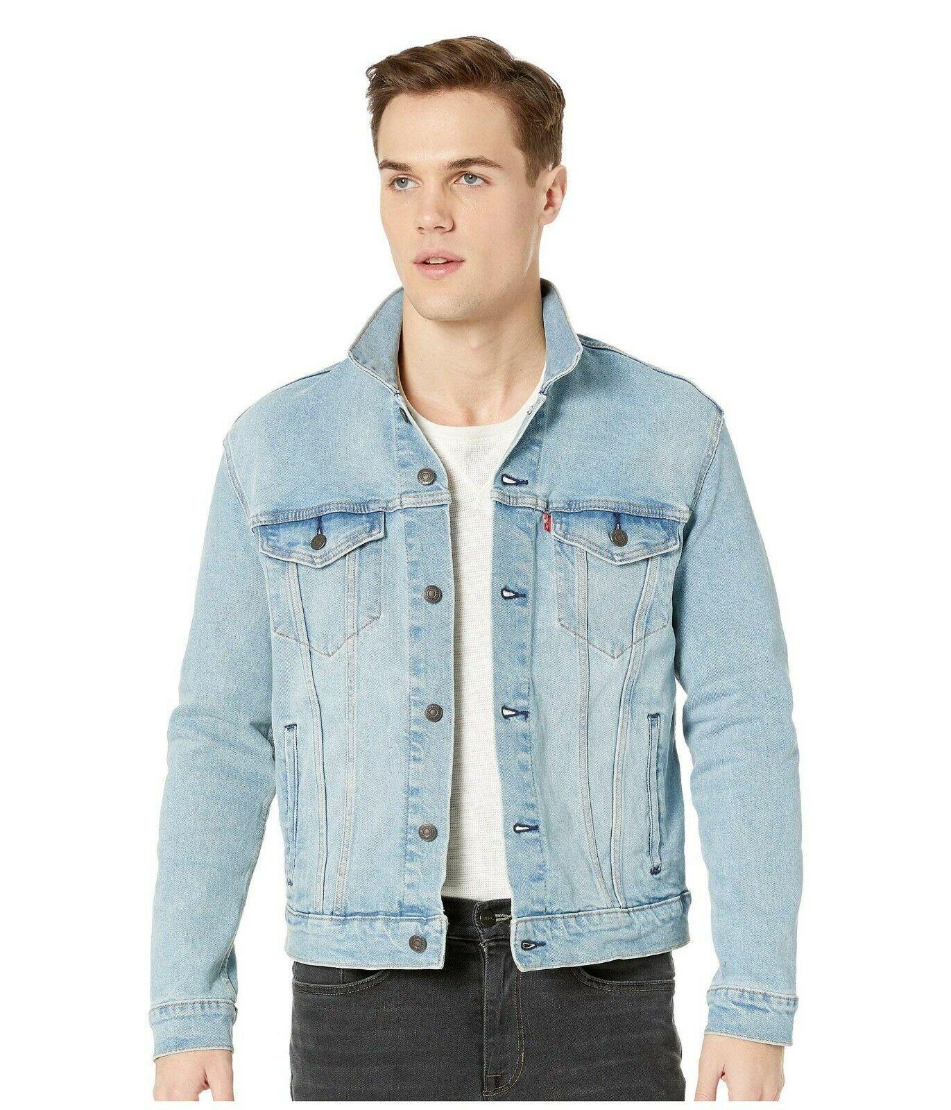Levi's Men's Classic Button Up Denim Jeans Trucker Jacket Blue Stretch 723340323