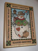 Greetings Snowman Rubber Stamp Merry Christmas Warms the Heart Seasons XL #2  - $8.90