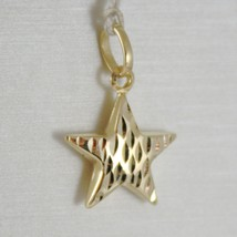 18K YELLOW GOLD ROUNDED STAR PENDANT CHARM 20 MM WORKED & SMOOTH, MADE IN ITALY image 1