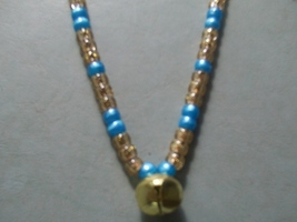 CHARMED ~ HORSE RHYTHM BEADS ~ Blue Pearl, Gold Sparkle ~ Size 54 Inches - $17.00