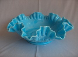 Vintage Fenton Glass Crimped Bowl Blue Marble Cabbage Rose NICE - $64.35