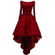 Lemai Beaded Lace High Low Long Sleeves Prom Homecoming Cocktail Dreses Wine ... - $126.99