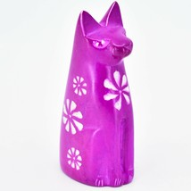 Vaneal Group Hand Carved Kisii Soapstone Fuchsia Sitting Kitty Cat Figure