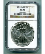 2016 AMERICAN SILVER EAGLE NGC MS70 CLASSIC BROWN LABEL AS SHOWN PREMIUM... - $56.95