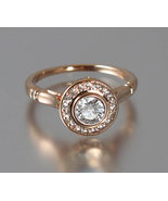 Art Deco Style Halo Bezel Set Solitaire Silver Ring - CZ Ring - Engageme... - $89.00