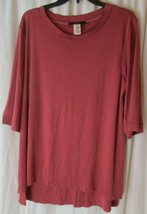 LUCKY & BLESSED Women's 3/4 Sleeve Scoop Neck Mauve Tunic Blouse Top Siz... - $14.84