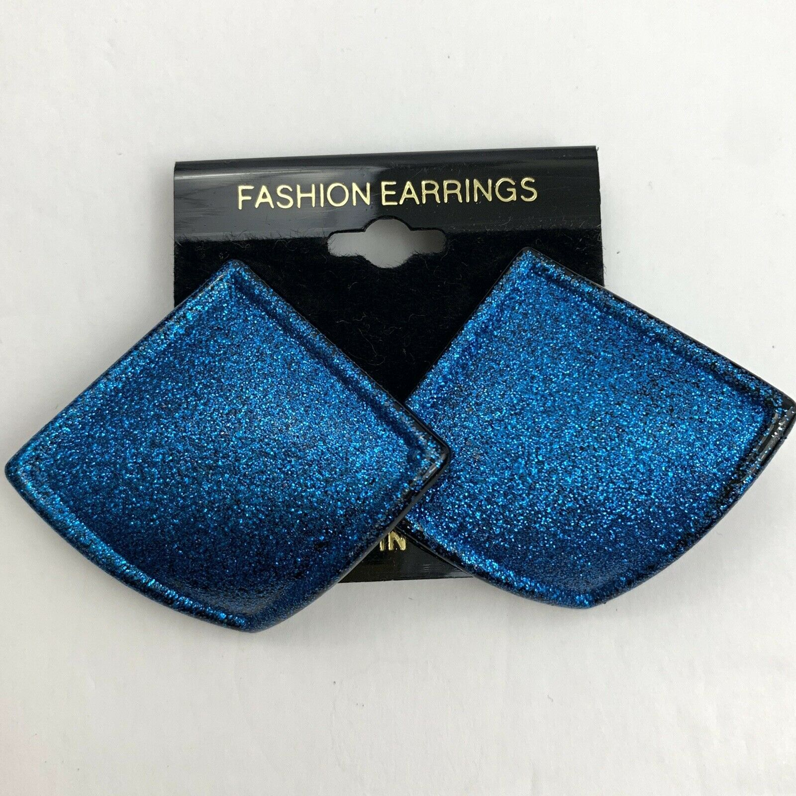 Primary image for Vintage Blue Glitter Earrings Pierced Shiny Glittery Funky Statement NOS 80s 90s