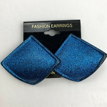 Vintage Blue Glitter Earrings Pierced Shiny Glittery Funky Statement NOS... - $11.10