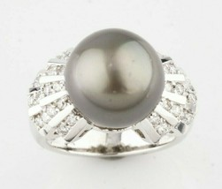 Art Deco Inspired 14k White Gold Tahitian Pearl Solitaire Ring w/ 0.66 c... - $1,914.20