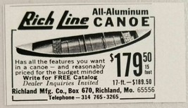 1967 Print Ad Rich Line All Aluminum Canoes Richland Mfg Richland,MO - $8.82