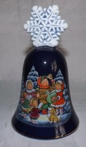Vintage Christmas 1987 Avon Fine Collections Snowflake Caroler Bell 22k gold rim - $18.69