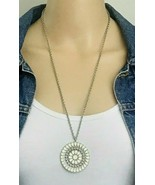 American Eagle Outfitters AEO Cream Enamel Inlay Medallion Pendant Necklace - $12.86