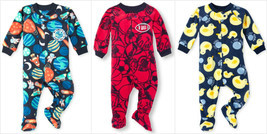 NWT The Childrens Place Boys Space Football Ducks Footed Fleece Sleeper Pajamas - $9.99
