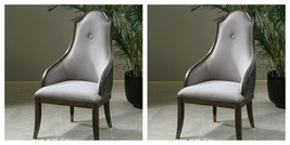 TWO NEW GRAY FAUX LEATHER LINEN PINE FRAME HIGH BACK DINING CHAIRS VINTA... - $1,491.60