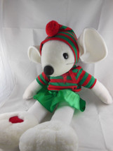 "Plush Christmas White Mouse Musical Decor Large 22"" Doll Plays several s... - £17.44 GBP"