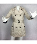 New Bershka Coat Trench Cotton Beige Women Size S double breasted - $44.95