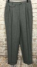 VTG Ralph Lauren Pants High Waisted Career Wool Cuffed Gray Women's 6 - $34.65
