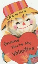 Vintage Valentine Card Scarecrow with Heart 1960's Unused Die Cut - $7.91