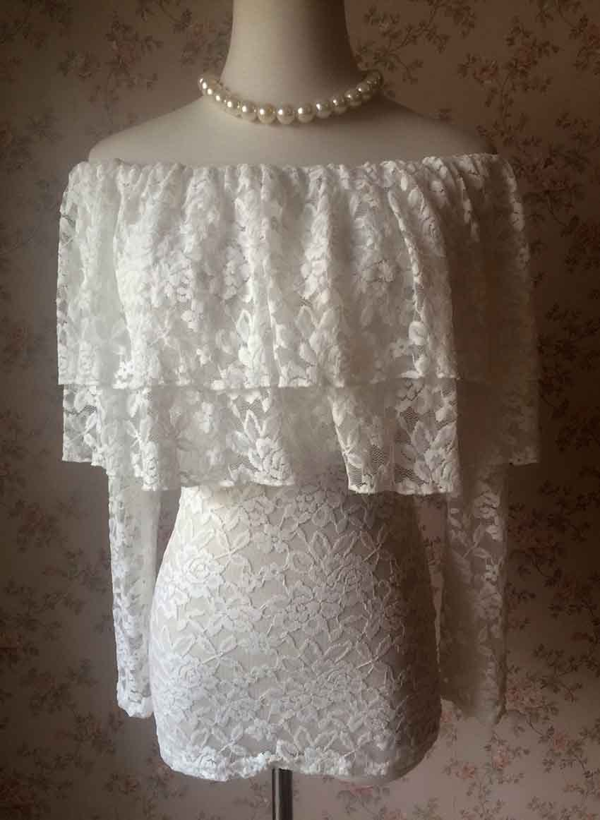 Ivory White OFF SHOULDER Lace Top Long Sleeve Wedding Bridesmaid Lace Shirt Plus