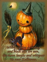 Little Pumpkin Jack-O-Lantern Witch  with Black Cat Halloween Metal Sign - $25.95