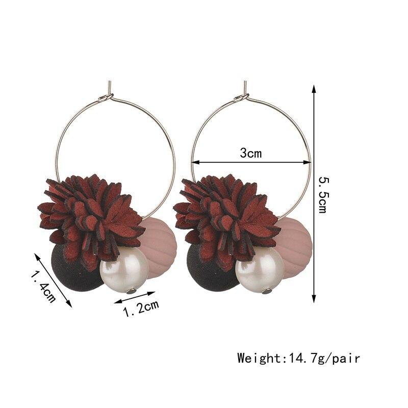 BAHYHAQ - Pearl Drop Temperament Plush Rose Flowers Hanging Earrings