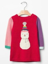 Baby Gap NWT Red Snowman Colorblock Sweater Dress 0 3 Holiday Xmas Winte... - $18.80