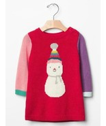 Baby Gap NWT Red Snowman Colorblock Sweater Dress 0 3 Holiday Xmas Winte... - $15.04