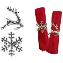 argent Noël ANNEAU DE SERVIETTE - Cerf, flocon de neige, étoile ou Sapin... - $14.78